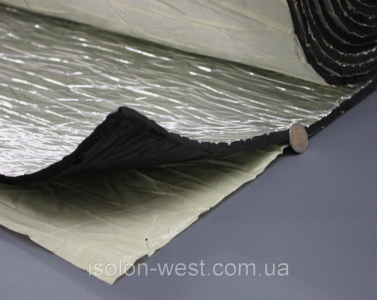Шумоизоляция для авто с фольгой 13мм каучуковая, Flex-optimal 13 ФК, лист 50х75 см
