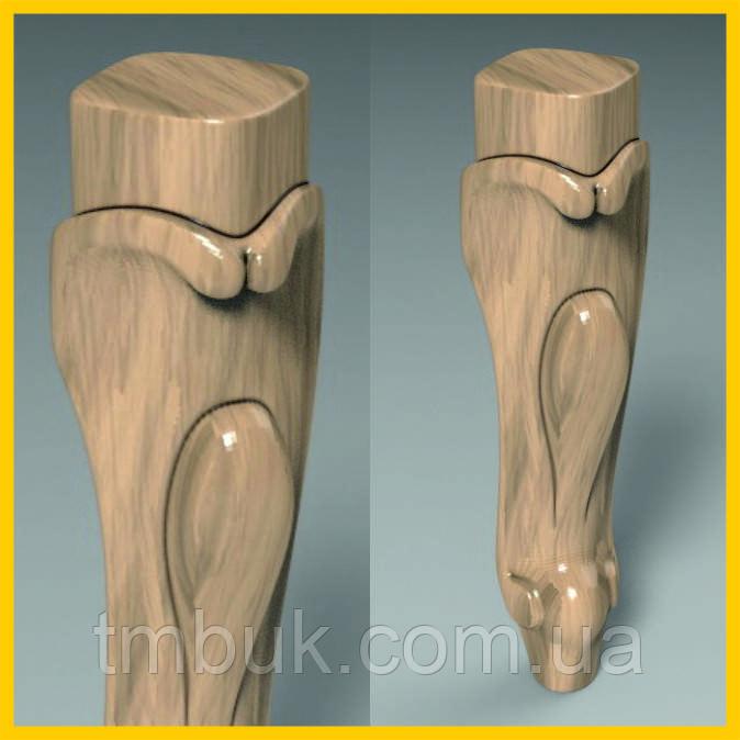 Фрезеровка резных гнутых ножек для шкафа, тумбы, кровати, кресла, дивана, комода из дерева. 250 мм