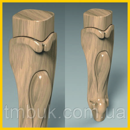 Фрезеровка резных гнутых ножек для шкафа, тумбы, кровати, кресла, дивана, комода из дерева. 250 мм, фото 2
