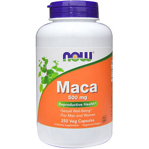 NOW Maca 500 mg 250 veg caps, НАУ Мака 500 мг 250 капсул