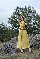 Льняное вышитое платье макси с борщевский вышивкой, фото 1