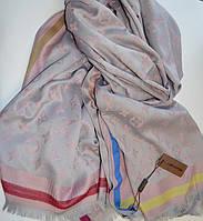 Шарф палантин в стиле Louis Vuitton (Луи Витон) серо-розовый
