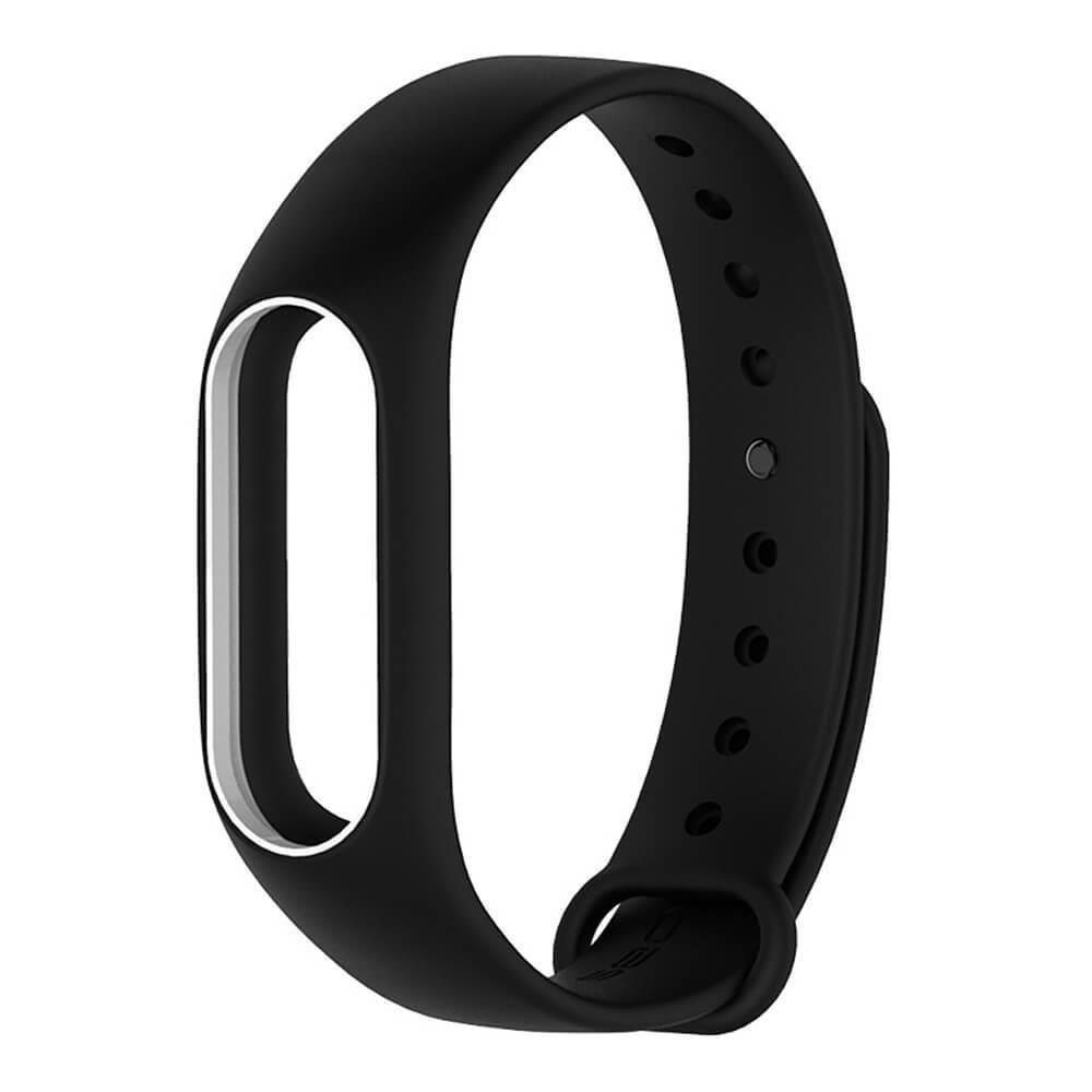 Ремешок TPU для фитнес-браслета Xiaomi Mi Band 2 Black with white