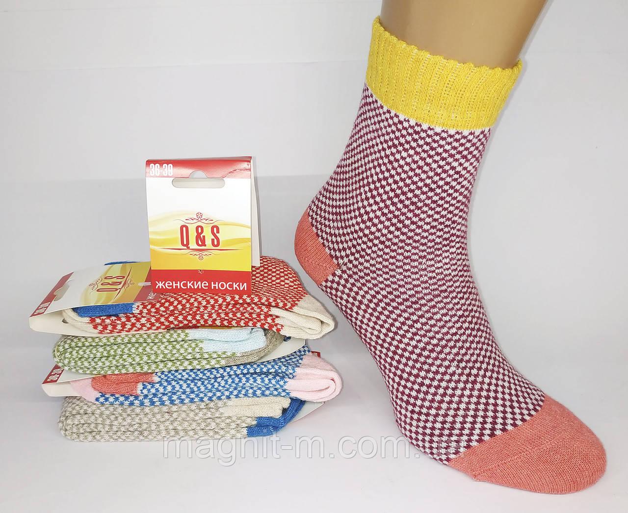 "Яркие женские зимние носки  фирмы ""Q&S"". Крупная вязка. Узор шахматка."