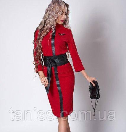 Молодежный деловой нарядный костюм, итальянский трикотаж, пояс в комплекте р. 40,48 красный  (723)