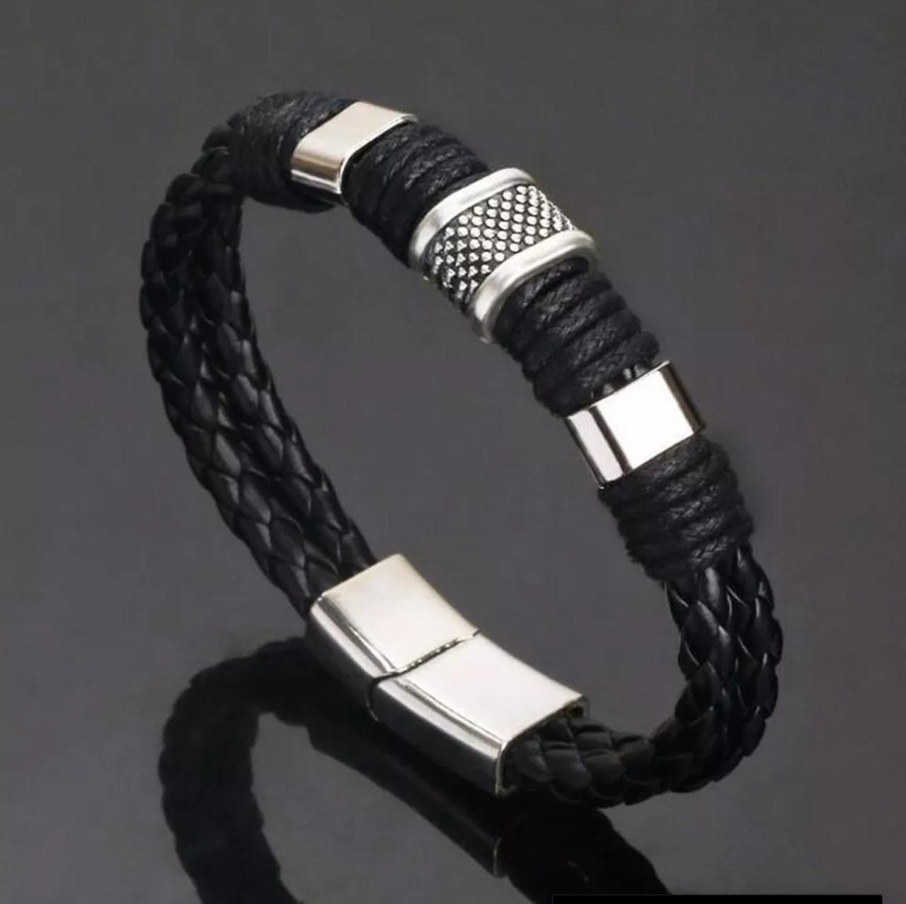 Мужской кожаный браслет «Africa» с металическими вставками (черный)