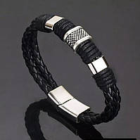 Мужской кожаный браслет «Africa» с металическими вставками (черный), фото 1