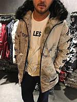 Мужская зимняя куртка с мехом и анатомическим рукавом бежевая