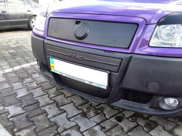 Зимняя заглушка в решетку радиатора Fiat Doblo 2006-2011 (Верх) матова (FLYPlast) (Глянец)
