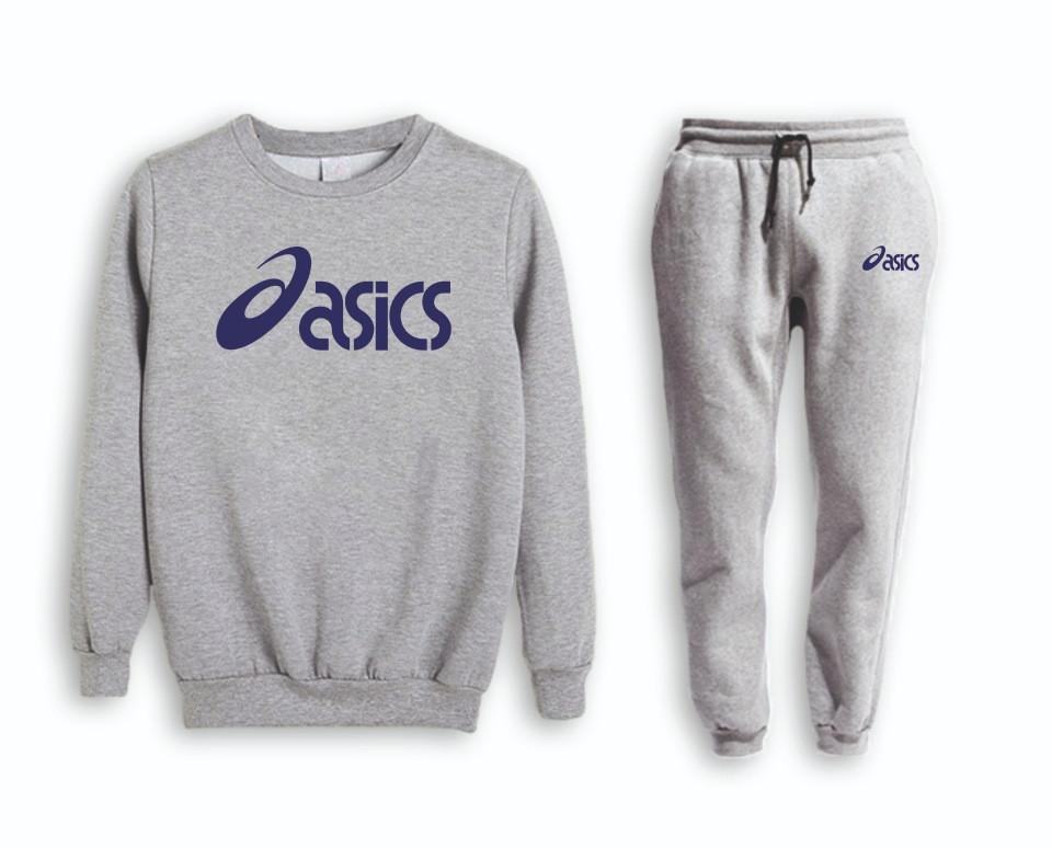 Серый мужской летний тренировочный костюм Asics (Асикс)