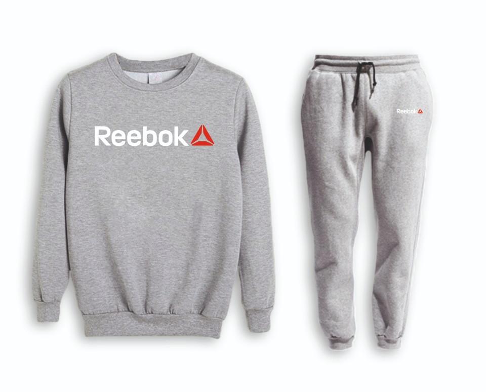 Серый мужской летний тренировочный костюм Reebok(Рибок)