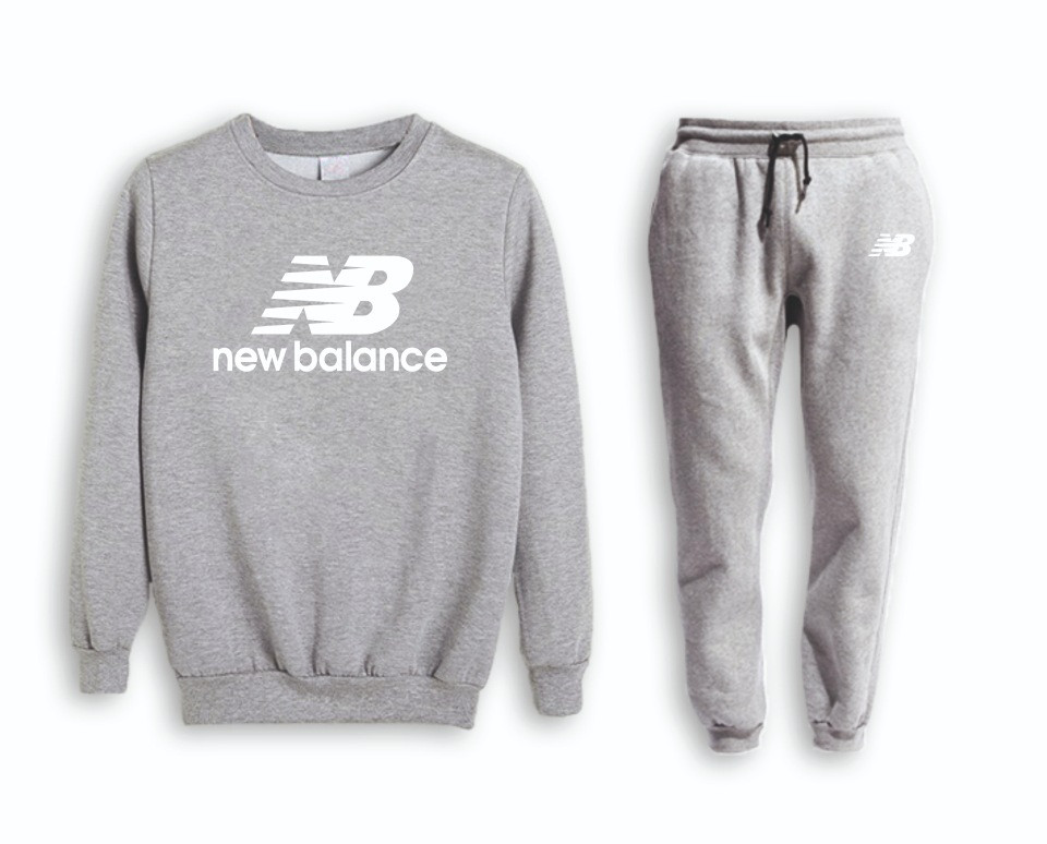 Сірий чоловічий літній тренувальний костюм на манжеті New Balance (Нью Беленс)