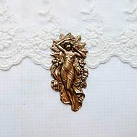 """Латунный штамп """"Богиня"""" бронза, 62*30 мм"""