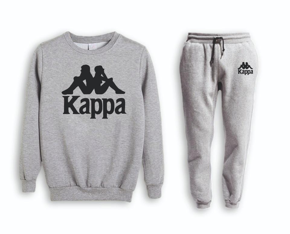 Серый мужской летний тренировочный костюм на манжете Kappa (Каппа)