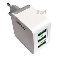 Сетевое Зарядное Устройство USB Sertec ST-1030,18W /3,5A, 3USB, MICRO (V8),WHITE GRAY