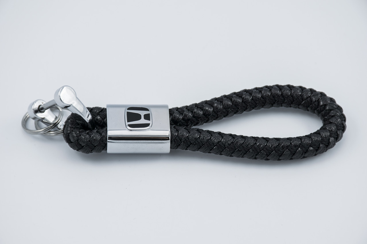Брелок з логотипом HONDA, плетений Берлок з логотипом хонда для автомобіліста + карабін / чорний