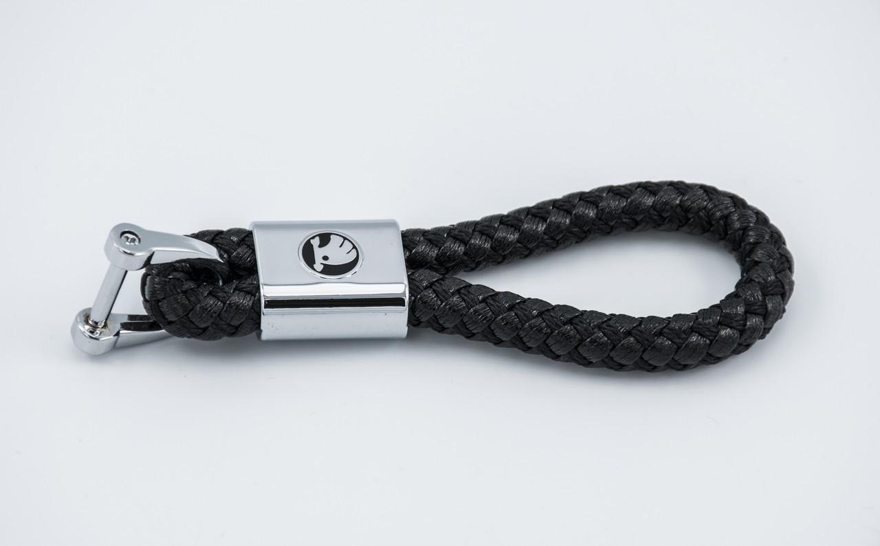 Брелок с логотипом SKODA, плетеный берлок с логотипом шкода для автомобилиста + карабин/черный