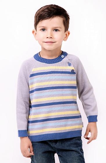 Полосатый свитер для мальчика тм Лютик р-р 86