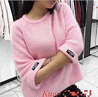 Женский свитер мягкий пушистый с рукавами клеш