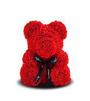 Мишка из роз Красный с черной ленточкой 40СМ