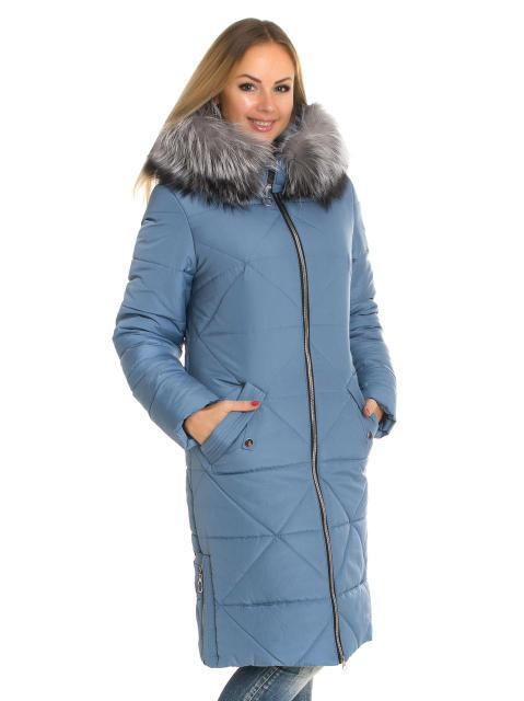 Женский зимний пуховик цвета джинс с чернобуркой