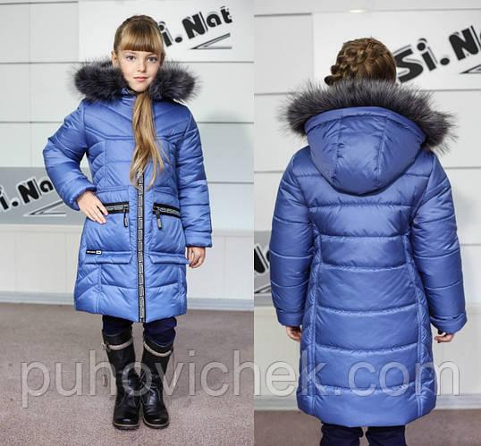 Детская зимняя курточка для девочки на подстежке из овчинки