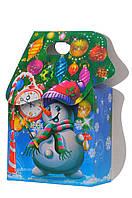 """Картона упаковка для новогодних подарков сумочка """"Веселий сніговичок"""" 600 г"""
