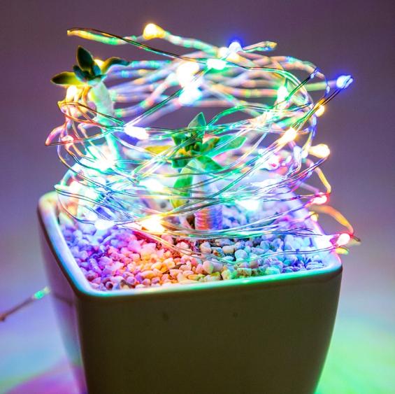 Светодиодная гирлянда нить LTL длина 2м 20led на батарейках разноцветная RGB