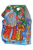 """Картона упаковка для новорічних подарунків, сумочка """"В гостях у діда мороза"""" 600 г"""