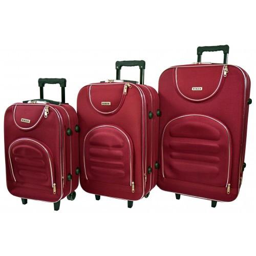 Чемодан Lux набор 3 штуки. Цвет бордовый.