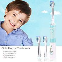 Seago SG-977 White with green Детская звуковая электрическая зубная щетка, фото 2