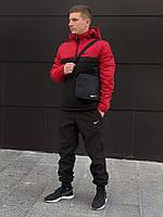 Комплект ЗИМНИЙ спортивный мужской: анорак + штаны + БАРСЕТКА В ПОДАРОК, черно-красный