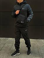 Комплект ЗИМНИЙ спортивный мужской: анорак + штаны + БАРСЕТКА В ПОДАРОК, черно-зеленый