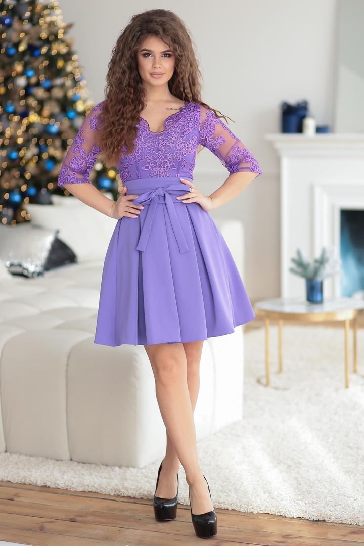 Платье с пышной расклешенной юбкой с подъюбником, верх сетка с вышивкой / 2 цвета  арт 7704-77