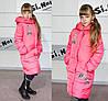 Удлиненная зимняя куртка парка для девочки стильная