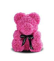 Мишка из роз Розовый с черной ленточкой 40СМ
