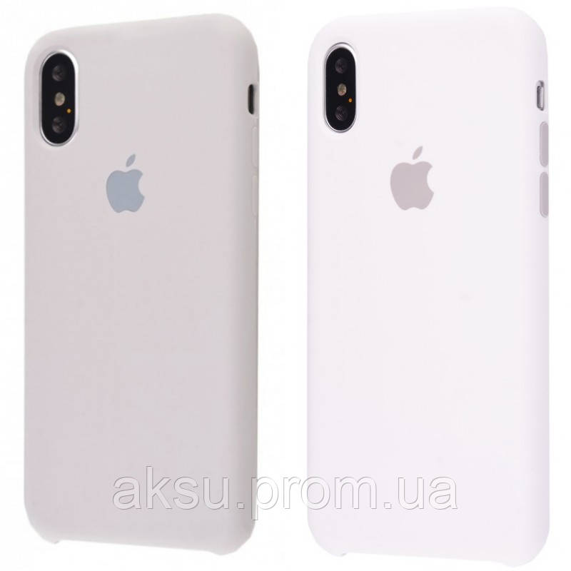 Чехол накладка для iPhone X/Xs Silicone Case (Stone)