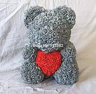 Мишка из роз Серый с красным сердцем 40СМ