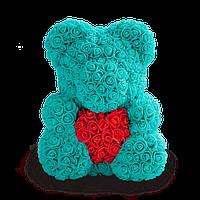 Мишка из роз Голубой с красным сердцем 40СМ