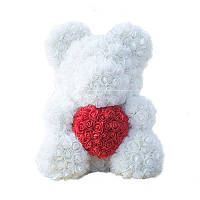 Мишка из роз Белый с красным сердцем 40СМ