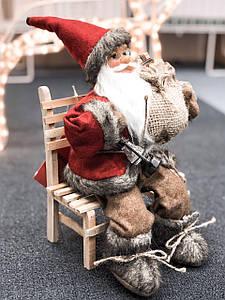 """Кукла """"Санта Клаус на стуле"""" коллекционная  27см высота"""