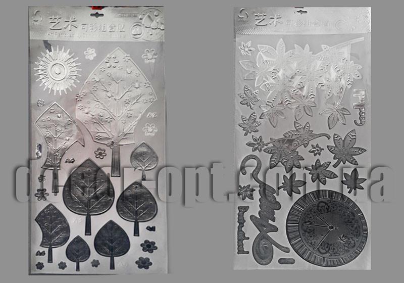 Интерьерная фольгированая наклейка серебро 33х68см