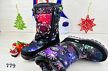 Ботинки дутики  детские зимние на меху на девочку черные космос, фото 2