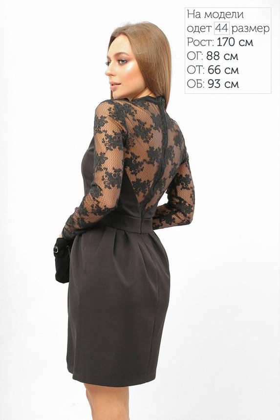 Нарядное коктейльное платье с гипюром черное, фото 2