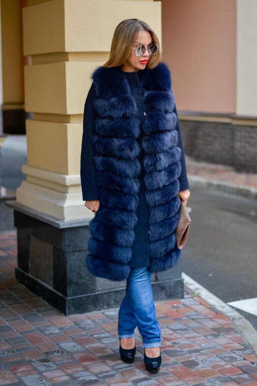 Пальто кашемир 2 в 1 с финским песцом