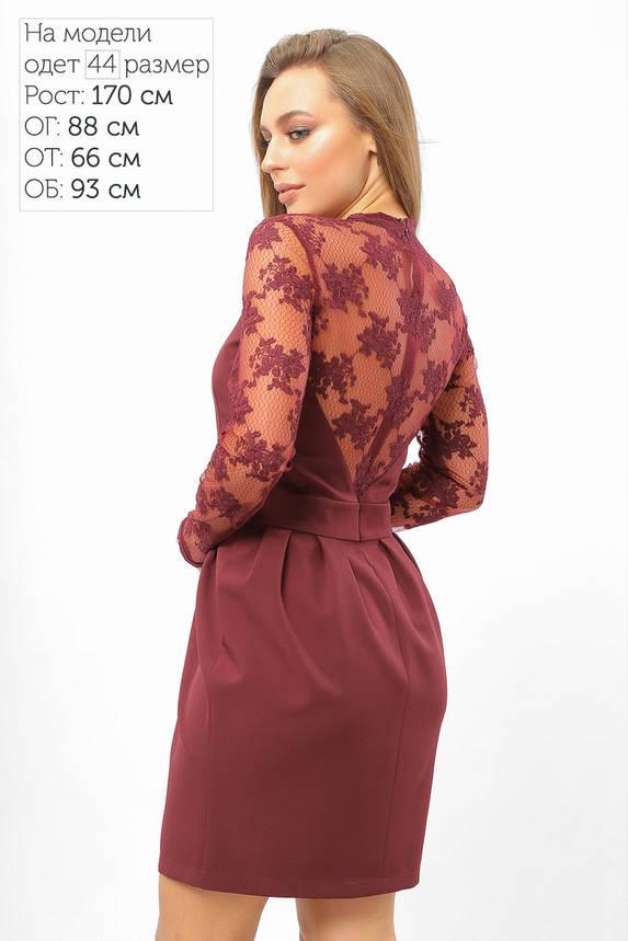 Нарядное коктейльное платье с гипюром бордовое, фото 2
