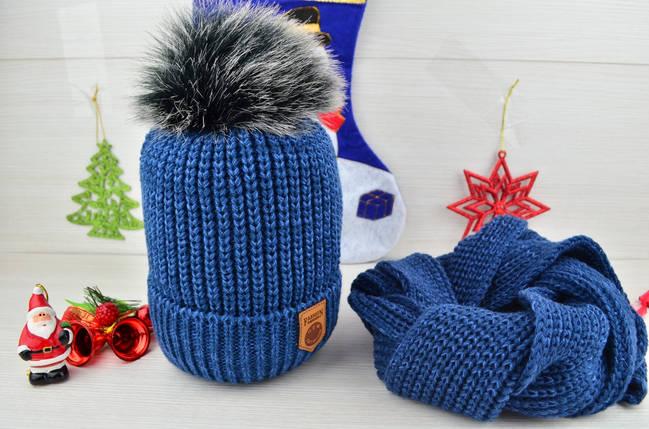 Шапка детская с помпоном на флисе зима с шарфом в комплекте , фото 2