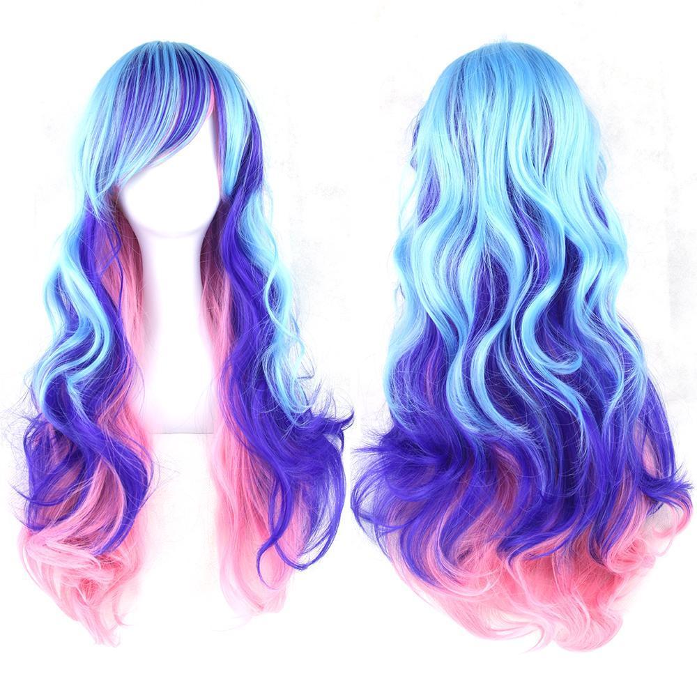 Длинные парики - 80см, синий, розовый, голубой волнистые волосы, косплей, анимэ