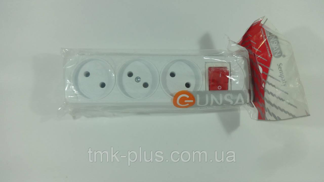 Колодка 3 гнізда з кнопкою без заземлення Gunsan