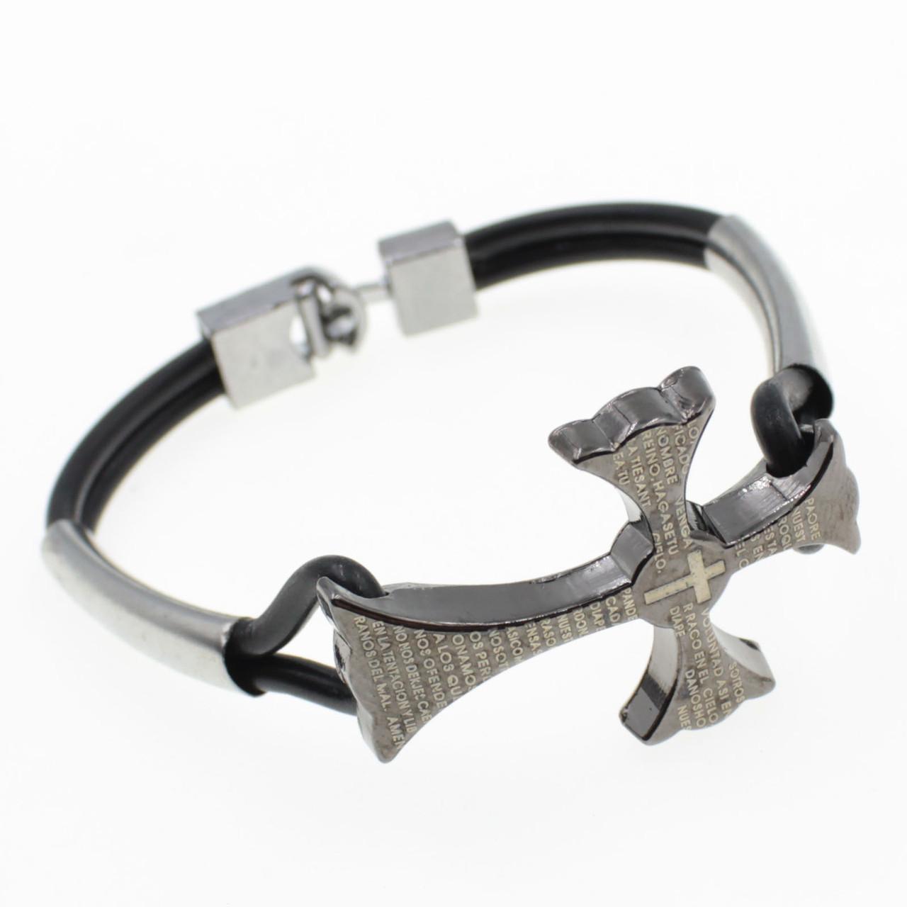 """Мужской  браслет  с металлическими вставками """"Deukalayon"""" L-20 см"""